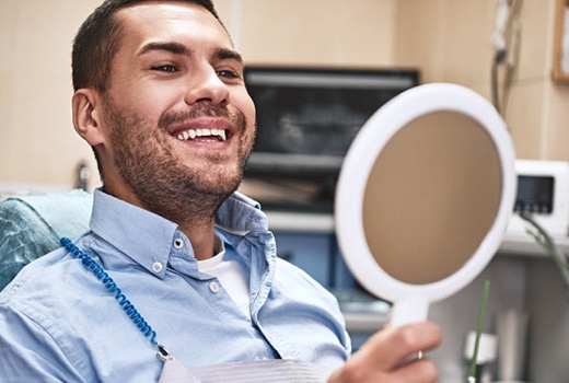Smiling man at dentist's office